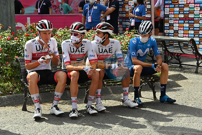 UAE Team Emirates riders wait at sign on before the start of Stage 4 of the 103rd edition of the Giro d'Italia 2020 running 140km from Catania to Villafranca Tirrena, Sicily, Italy. 6th October 2020.  <br /> Picture: LaPresse/Gian Mattia D'Alberto | Cyclefile<br /> <br /> All photos usage must carry mandatory copyright credit (© Cyclefile | LaPresse/Gian Mattia D'Alberto)