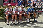 UAE Team Emirates riders wait at sign on before the start of Stage 4 of the 103rd edition of the Giro d'Italia 2020 running 140km from Catania to Villafranca Tirrena, Sicily, Italy. 6th October 2020.  <br /> Picture: LaPresse/Gian Mattia D'Alberto   Cyclefile<br /> <br /> All photos usage must carry mandatory copyright credit (© Cyclefile   LaPresse/Gian Mattia D'Alberto)