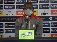 BOGOTÁ - COLOMBIA, 26-12-2020:  Adrian Ramos del América de Cali durante rueda de prensa previo al encuentro entre Independiente Santa Fe y el América de Cali por la final Vuelta como parte de la Liga BetPlay DIMAYOR 2020 en la ciudad de Bogotá. / Adrian Ramos of America during press conference prior a second leg final match between Independiente Santa Fe and America de Cali  as part of BetPlay DIMAYOR 2020 League in Bogotá city. Photo: VizzorImage / Daniel Garzón  / Contribuidor
