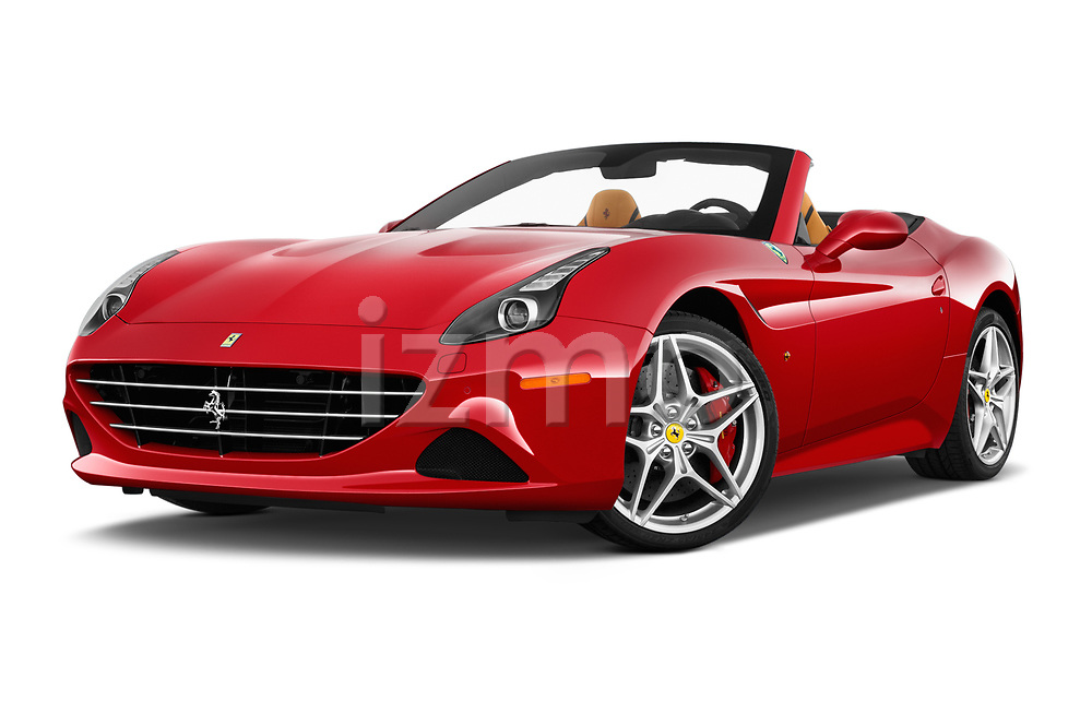Stock pictures of low aggressive front three quarter view of 2017 Ferrari California-T 2 Door Convertible Low Aggressive