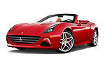 Stock pictures of low aggressive front three quarter view of 2017 Ferrari California-T 2 Door Convertible Low Aggressive