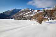 Franconia Notch State Park - Cannon Mountain from Echo Lake beach in the White Mountains, New Hampshire during the winter months.