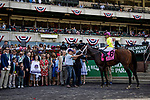 """JUNE 08: World of Trouble with Manny Franco up wins Jaipur Invitational, a Breeders' Cup """"Win and You're In"""" event at Belmont Park in Elmont, New York on June 07, 2019. Evers/Eclipse Sportswire/CSM"""