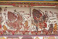 Bali, Indonesia.  Scenes from the Ceiling of the Bale Kambang (Floating Pavilion), Depicting Scenes from Hindu-Balinese Mythology.  Klungkung, Semarapura.