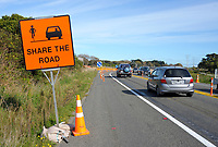 Traffic through road works on State Highway One near Te Horo, New Zealand on Saturday, 16 May 2020. Photo: Dave Lintott / lintottphoto.co.nz