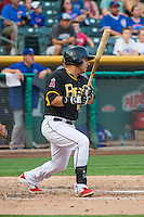 Efren Navarro (28) of the Salt Lake Bees at bat against the Iowa Cubs in Pacific Coast League action at Smith's Ballpark on August 21, 2015 in Salt Lake City, Utah. The Bees defeated the Cubs 12-8.  (Stephen Smith/Four Seam Images)