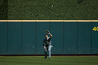 Missouri Tigers Charlotte 49ers Seth Halvorsen (8) settles under a fly ball during the game against the Baylor Bears in game one of the 2020 Shriners Hospitals for Children College Classic at Minute Maid Park on February 28, 2020 in Houston, Texas. The Bears defeated the Tigers 4-2. (Brian Westerholt/Four Seam Images)