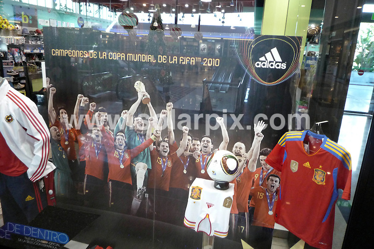 **ALL ROUND EXCLUSIVE PICTURES FROM SOLARPIX.COM**                                             **WORLDWIDE SYNDICATION RIGHTS**  .Spanish Football  World Cup teams multi million pound sponsorships after winning the World cup.                                                                                                                                                           This pic:     David Villa, Xavi Alonso the Spanish World Cup winning side advertise Adidas in a Spanish sports shop.                                                                                         JOB REF: 12523       AB1       DATE: 24.11.2010                                                           **MUST CREDIT SOLARPIX.COM OR DOUBLE FEE WILL BE CHARGED**                                                                      **MUST AGREE FEE BEFORE ONLINE USAGE**                               **CALL US ON: +34 952 811 768 or LOW RATE FROM UK 0844 617 7637**