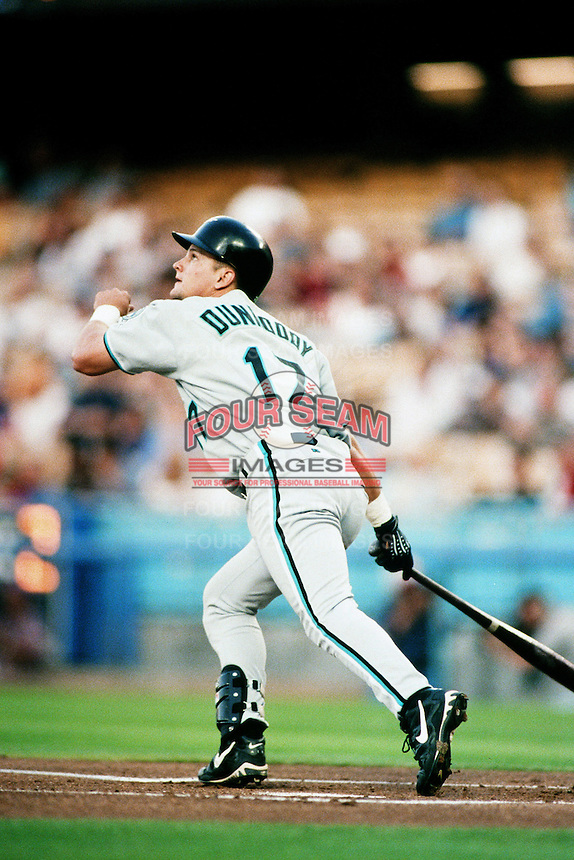Todd Dunwoody of the Florida Marlins during a game against the Los Angeles Dodgers at Dodger Stadium circa 1999 in Los Angeles, California. (Larry Goren/Four Seam Images)