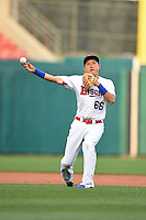 Buffalo Bisons shortstop Munenori Kawasaki (66) warmup throw to first during a game against the Gwinnett Braves on May 13, 2014 at Coca-Cola Field in Buffalo, New  York.  Gwinnett defeated Buffalo 3-2.  (Mike Janes/Four Seam Images)