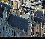 Gothic Tower Detail, Town Hall Stadhuis, East View from atop the Belfort Bell Tower, Bruges, Brugge, Belgium