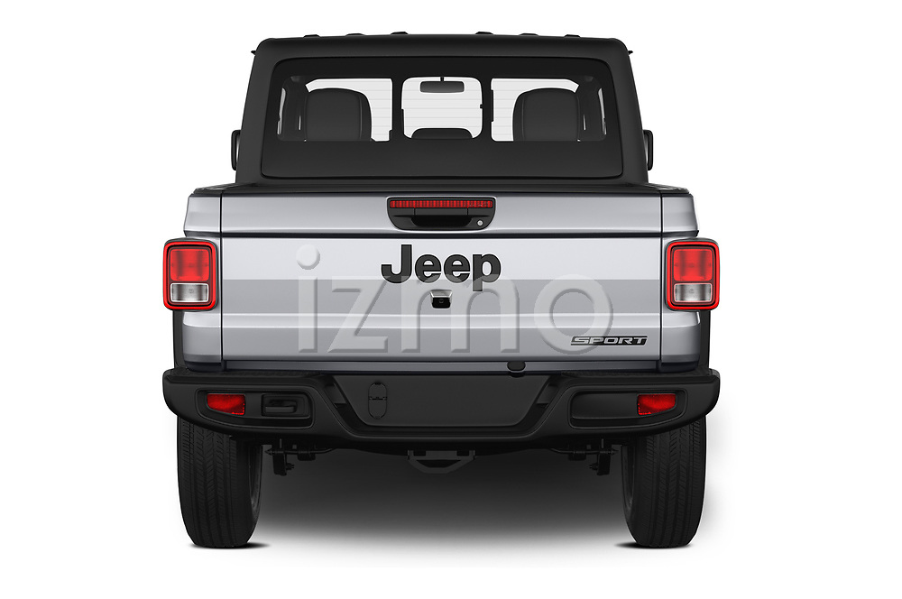 Straight rear view of 2020 JEEP Gladiator Sport-S 4 Door Pick-up Rear View  stock images