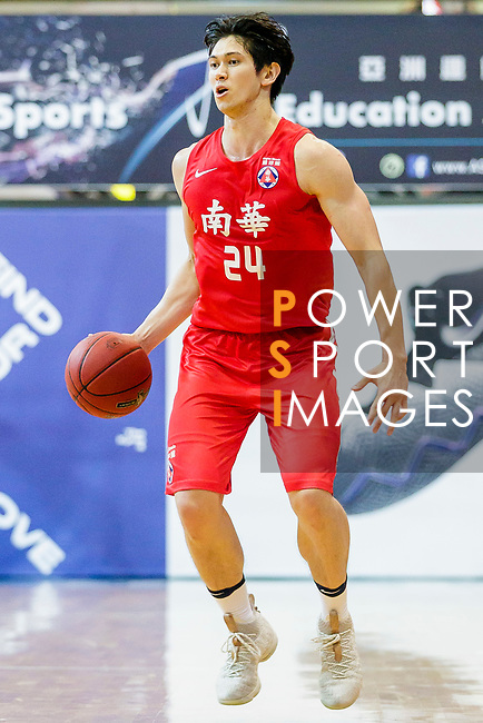 Nixon Nigel Thomas #24 of SCAA Men's Basketball Team dribbles the ball up court against the Eastern Long Lions during the Hong Kong Basketball League game between Eastern Long Lions and SCAA at Southorn Stadium on May 29, 2018 in Hong Kong. Photo by Yu Chun Christopher Wong / Power Sport Images