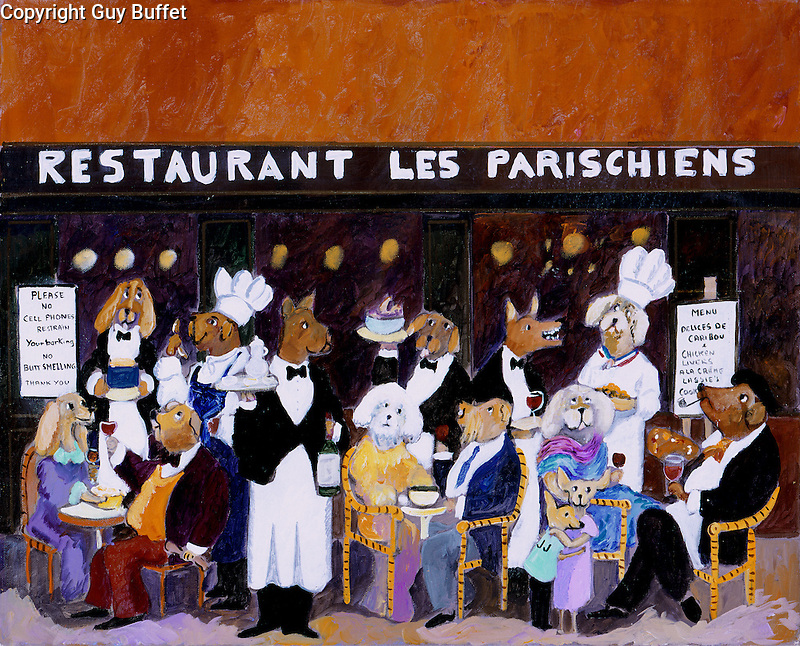 """""""Restaruant Les Parischiens""""<br /> Limited Edition Giclee 16x20<br /> SN Paper $950<br /> SN Canvas $950<br /> AP Paper w/Original Watercolor Remarque $1550<br /> Wonderful restaurant piece with Guy's imaginary canine lunchtime crowd in Paris!"""