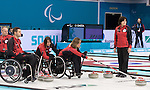 Sochi, RUSSIA - Mar 7 2014 -  Canada's Wheelchair Curling Team trains before the Sochi 2014 Paralympic Winter Games in Sochi, Russia.  (Photo: Matthew Murnaghan/Canadian Paralympic Committee)