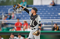 West Virginia Black Bears catcher Zach Susi (3) during a game against the Batavia Muckdogs on June 18, 2018 at Dwyer Stadium in Batavia, New York.  Batavia defeated West Virginia 9-6.  (Mike Janes/Four Seam Images)