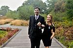 Kristina Wolf and Doug Swanson's relaxed, elegant wedding portraits at New York Botanical Garden, prior to their celebration at the Botanical Garden's Stone Mill house.