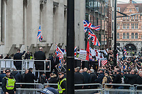 Supporters of Tommy Robinson gather outside the Old Bailey in London for his retrial. There was also a protest by Stand Up To Racism. 23-10-18