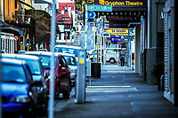 Ghuznee Street, Wellington CBD, at 8am during Level 4 lockdown for the COVID-19 pandemic in Wellington, New Zealand on Wednesday, 25 August 2021.