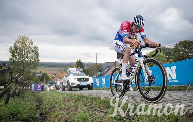 Mathieu Van der Poel (NED/Alpecin-Fenix) & Wout van Aert (BEL/Jumbo-Visma) up the final ascent of the Paterberg<br /> <br /> 104th Ronde van Vlaanderen 2020 (1.UWT)<br /> 1 day race from Antwerpen to Oudenaarde (BEL/243km) <br /> <br /> ©kramon