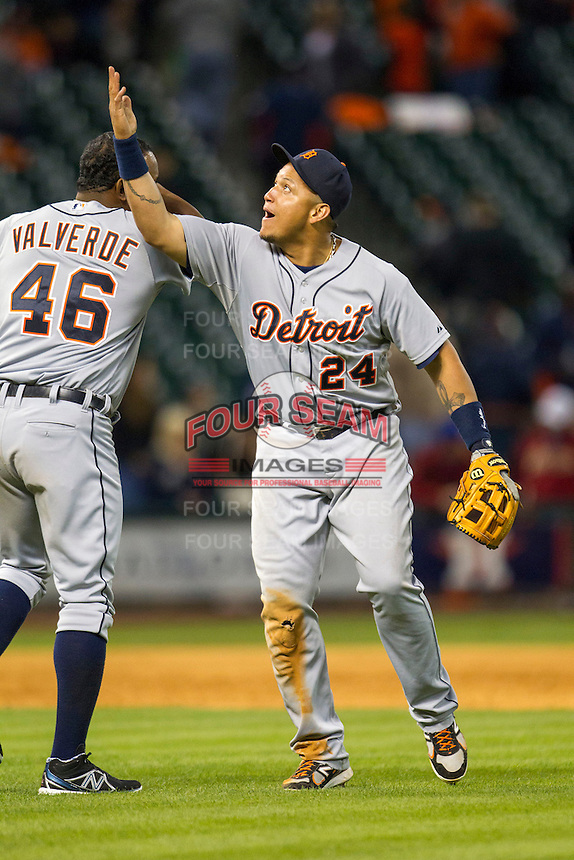 Detroit Tigers third baseman Miguel Cabrera (24) celebrates with closer Jose Valverde (46) after the MLB baseball game against the Houston Astros on May 3, 2013 at Minute Maid Park in Houston, Texas. Detroit defeated Houston 4-3. (Andrew Woolley/Four Seam Images).