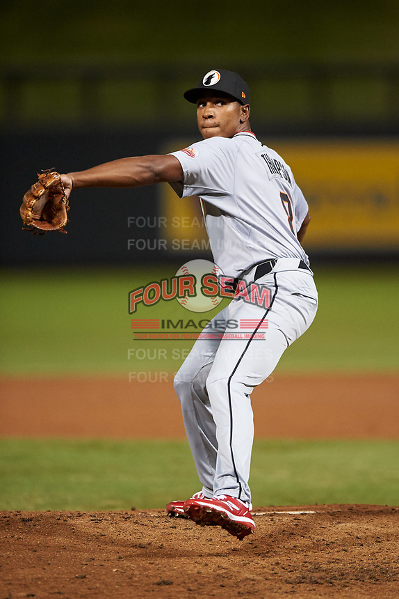 Glendale Desert Dogs relief pitcher Cory Thompson (8), of the Cincinnati Reds organization, during an Arizona Fall League game against the Scottsdale Scorpions on September 20, 2019 at Salt River Fields at Talking Stick in Scottsdale, Arizona. Scottsdale defeated Glendale 3-2. (Zachary Lucy/Four Seam Images)