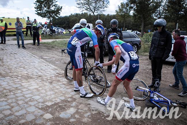 Alexandre Pichot (FRA/Total Direct Energie) hands his wheel of to Damien Gaudin (FRA/Total Direct Energie)<br /> <br /> Antwerp Port Epic 2019 <br /> One Day Race: Antwerp > Antwerp 187km<br /> <br /> ©kramon