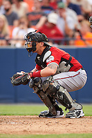 Carolina Mudcats catcher Joseph Odom (6) during a game against the Frederick Keys on June 4, 2016 at Nymeo Field at Harry Grove Stadium in Frederick, Maryland.  Frederick defeated Carolina 5-4 in eleven innings.  (Mike Janes/Four Seam Images)