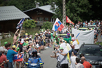 Green Jersey Peter Sagan (SVK/Tinkoff) coming up and encoutering some Sagan-fans along the way & enjoying it<br /> <br /> Stage 18 (ITT) - Sallanches › Megève (17km)<br /> 103rd Tour de France 2016