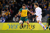 MELBOURNE, AUSTRALIA - JUNE 7: Lucas Neill of the Socceroos controls the ball during an international friendly match between the Qantas Australian Socceroos and Serbia at Etihad Stadium on June 7, 2011 in Melbourne, Australia. Photo by Sydney Low / AsteriskImages.com