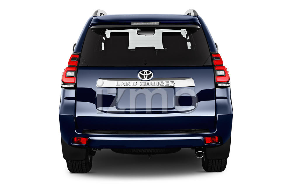 Straight rear view of 2018 Toyota Land-Cruiser-150 Lounge 5 Door SUV Rear View  stock images