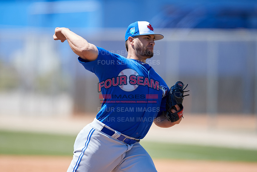 Toronto Blue Jays pitcher Dalton Rodriguez (84) during a Minor League Spring Training Intrasquad game on March 14, 2018 at Englebert Complex in Dunedin, Florida.  (Mike Janes/Four Seam Images)