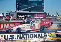 Sep 5, 2020; Clermont, Indiana, United States; NHRA funny car driver Tommy Johnson Jr during qualifying for the US Nationals at Lucas Oil Raceway. Mandatory Credit: Mark J. Rebilas-USA TODAY Sports