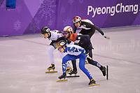 OLYMPIC GAMES: PYEONGCHANG: 17-02-2018, Gangneung Ice Arena, Short Track, Sjinkie Knegt krijgt voor deze actie een penalty, ©photo Martin de Jong