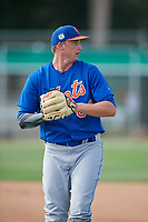 GCL Mets pitcher Ryan McAuliffe (62) during practice before a game against the GCL Cardinals on July 23, 2017 at Roger Dean Stadium Complex in Jupiter, Florida.  GCL Cardinals defeated the GCL Mets 5-3.  (Mike Janes/Four Seam Images)