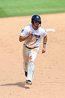 Wisconsin Timber Rattlers outfielder Rob Henry (3) runs to third base during a Midwest League game against the Bowling Green Hot Rods on July 22, 2018 at Fox Cities Stadium in Appleton, Wisconsin. Bowling Green defeated Wisconsin 10-5. (Brad Krause/Four Seam Images)
