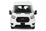 Car photography straight front view of a 2021 Ford Transit 350-XLT 5 Door Passenger Van Front View