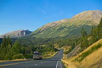 Tour bus on the New Seward Highway, Alaska