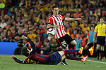 Barcelona´s Pique (L) and Athletic de Bilbao´s Aritz Aduriz during 2014-15 Copa del Rey final match between Barcelona and Athletic de Bilbao at Camp Nou stadium in Barcelona, Spain. May 30, 2015. (ALTERPHOTOS/Victor Blanco)