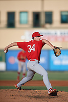Palm Beach Cardinals relief pitcher Jacob Patterson (34) delivers a pitch during a game against the Jupiter Hammerheads on August 4, 2018 at Roger Dean Chevrolet Stadium in Jupiter, Florida.  Palm Beach defeated Jupiter 7-6.  (Mike Janes/Four Seam Images)