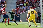 Atletico de Madrid's Juanfran Torres (L) and Jan Oblak (R) and SD Eibar's Pablo de Blasis during La Liga match. September 15, 2018. (ALTERPHOTOS/A. Perez Meca)