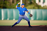 Dunedin Blue Jays shortstop Deiferson Barreto (15) throws to first base during a game against the Florida Fire Frogs on April 10, 2017 at Osceola County Stadium in Kissimmee, Florida.  Florida defeated Dunedin 4-0.  (Mike Janes/Four Seam Images)