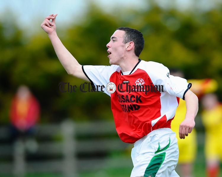 Newmarkets Jamie Egan celebrates his goal against Corofin