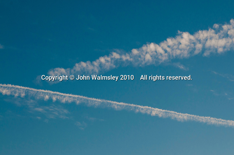 Two jets' contrails.