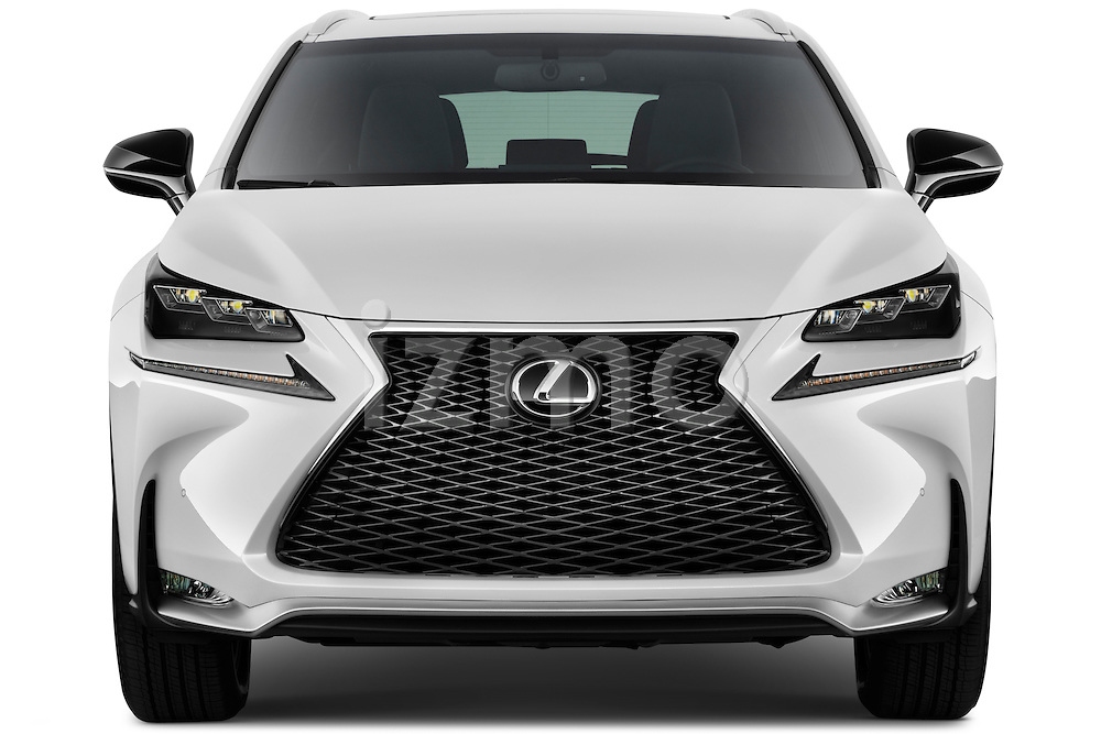 Car photography straight front view of a 2015 Lexus NX NX 200t F SPORT 5 Door SUV Front View