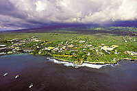 Aerial of Kailua Kona, Big Island of Hawaii