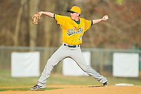 SUNY Sullivan Generals relief pitcher Michael Choros (23) in action against the County College of Morris Titans on the campus of County College of Morris on April 9, 2013 in Randolph, New Jersey.  The Titans defeated the Generals 12-4.  (Brian Westerholt/Four Seam Images)