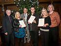 Elaine Caldwell, John Grant, Christine McGregor receive their Long Service Award from Ian Scott, Chair, Falkirk Community Trust, Pat Reid, Provost Falkirk Council and Maureen Campbell, Chief Executive Falkirk Community Trust.