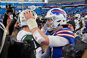 Buffalo Bills quarterback Josh Allen (17) congratulates Sam Darnold (14) after an NFL football game against the New York Jets, Sunday, December 9, 2018, in Orchard Park, N.Y.  (Mike Janes Photography)