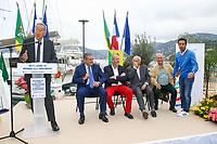 Marc PAJOT, Parrain du nouveau quai Catamarans, avec Eric CONTENCIN, Henri LEROY, Bernard BROCHAND, Roland MILAZZO et Ludovic GIULY lors de l'inauguration du Salon du Bateau - Les Nouvelles Vagues du Nautisme - au Port de la Napoule à Mandelieu, Sud de la France, vendredi 14 avril 2017. # INAUGURATION DU SALON DU BATEAU A MANDELIEU